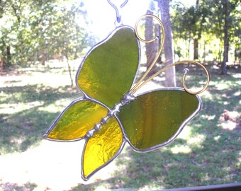 LT Stained glass Autumn colors 3-D Butterfly suncatcher light catcher ornament made with mixed green, brown and gold clear glass