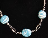Simple Turquoise Ivory Lampworking Beaded Necklace With Sterling Chain
