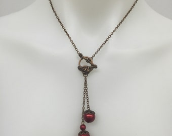 CA Red Toggle Drop Pendant Necklace