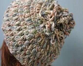 Pastel Slouchy Beanie Hat, Slouchy Crochet Beanie, Handmade Flower Crochet  Winter Hat,  Skulldress Hat, Winter Headdress, Women Accessories