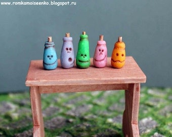 Set of 5 pieces - Fairy magical bottle with face by Roman Moiseenko