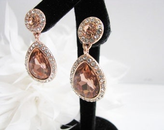 Rose Gold Crystals Rhinestones Bridal Wedding Jewelry Earrings Crystal Bridal Statement Necklace, Gold Crystal Wedding Earrings
