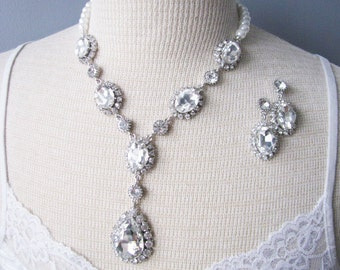 Sparkle Statement Wedding Necklace in Silver tone Great Bridal Wedding Jewelry Pageant Jewelry