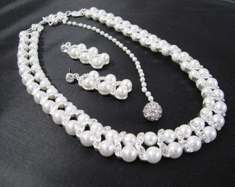 Faux Pearl  Wedding Necklace and Earring Set in silver tone and White Faux Pearls Great Bridal Wedding Jewelry