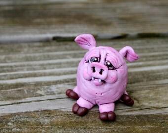 Sitting Pig Polymer Clay Sculpture