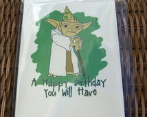 BFRIDAY SALE Star Wars Yoda Birthday Card