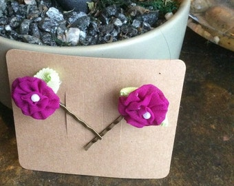 Summer Sale Purple Prima fabric flowers with pearl centers bobby pins on gift cards unique gifts