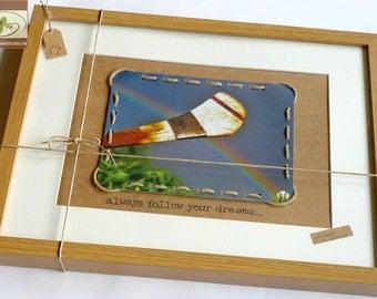 Hurley and Sliotar Framed Picture - Is breá liom iománaíocht - Always Follow Your Dreams - Rainbow Sky GAA Keepsake  - Handmade in Ireland