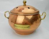 Vintage brass and copper potpourri brass and copper incense pot round pot with lid copper pot with brass handles aromatic oil