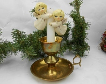 Vintage candle huggers angel candle huggers hand painted blonde angels sighed Bettye 1984 hand made ceramic angel candle climbers