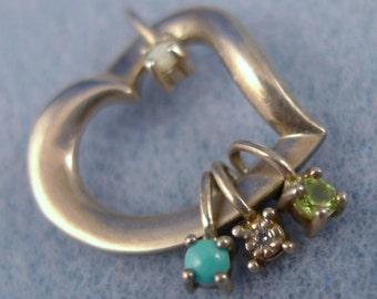 Vintage Pendant : sterling silver Mother's or Grandmother's Heart Lenox Gemstone (66.021)