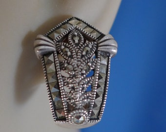 """Vintage Art Deco Post Earrings : Sterling 925 Silver and Marcasite Designer Signed """"A""""  (88089)"""