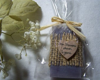 Personalized favors,  Mini soaps with cello bags, organic, handmade soap, set of 50