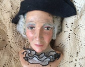 He's A Dapper Fellow Antique Mache Wax Puppet Doll Head