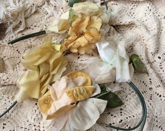 Gorgeous Old Worn Vintage Yellow Millinery Roses & Flowers