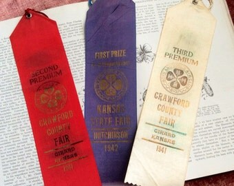 Vintage 1940s 4H County Fair Ribbon For The Kansas Collector