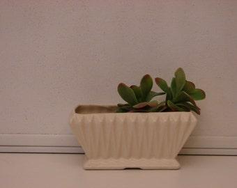 Vintage White Planter, Rectangular Planter Made in USA