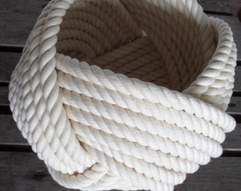 """Nautical Decor Cotton Rope Bowl Basket 10 x 8"""" Large Tightly Woven Knotted Beach"""