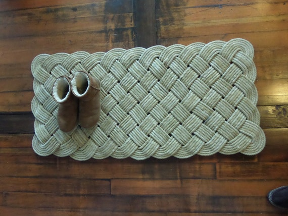 "Large Hall Runner Natural Rope Recycled Fishing Line 48 x 24"" Rope Rug Nautical Rustic Beach Knotted Tan Khaki Natural Rope"