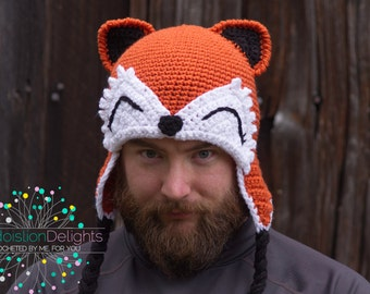 Fox Crochet Hat --MADE TO ORDER--Teen, Adult Size, Earflap hat, Forest Animal Hat, Creature Hat,