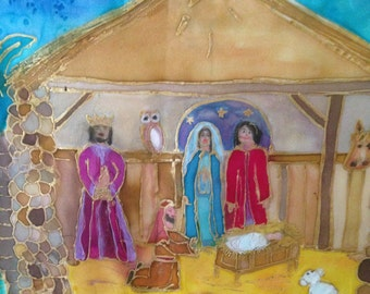 Handpainted Silk Christmas Wall Hanging 'The First Christmas'