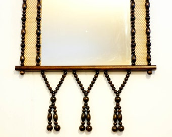 Vintage wall mirror, wooden beaded hanging mirror, retro boho wall hanging decor