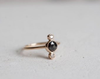 Black Diamond and Champagne Diamond 'Latus' Ring