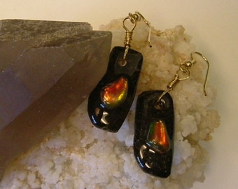 Bright Red to Orange, Green and Gold Fire Ammolite from Utah Deposit Gold Filled Wire Wrapped Earrings 395