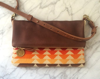 Crossbody Bag / Clutch - 60s Tribal Blanket + Cognac Brown Leather