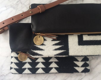 Crossbody Bag / Clutch - Tribal Blanket + Black Italian Leather