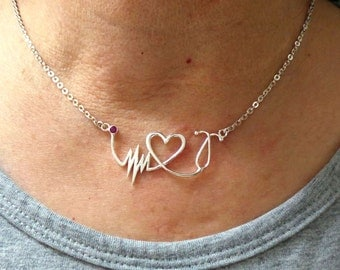 Nurse HeartBeat Stethoscope Necklace - Silver EKG, ECG Necklace Registered RN Nurse Practitioner Graduation Gift, lpn, bsn,Medical Assistant