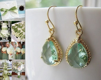 Prasiolite Gold Teardrop Earrings / Glass Dangle / Light Green / Bridesmaids / Wedding / Teardrop Earrings / 14K Gold Filled Wire