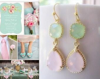 Pink Opal & Mint Green Earrings / Bridesmaids / Glass Dangle / Teardrop / Wedding / Bridal Party / 14K Gold Filled Wire / Gold / Pink Mint