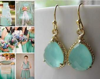 Mint Gold Earrings / Sea Glass / Dangle / Teardrop /  Bridesmaids /  Wedding / 14K Gold Filled Wire / Blue Green / Drop Earrings