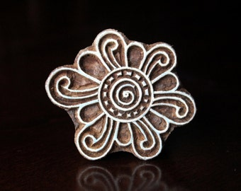 Pottery Stamps, Indian Wood Stamp, Textile Stamp, Wood Blocks, Tjaps, Printing Stamp-Stylized Flower