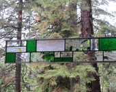 Green Stained Glass Art Strip/Transom