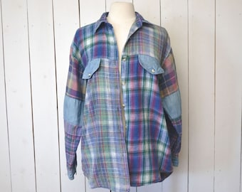 Plaid Denim Patchwork Shirt Early 90s Distressed Vintage Blue Button Up Large XL
