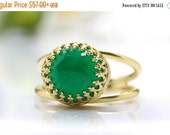 green onyx ring, gold ring, semi precious ring, delicate ring, double band ring, green ring, gemstone ring