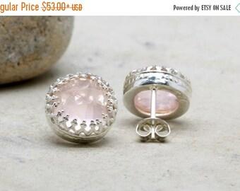 SUMMER SALE - rose quartz earrings,silver earrings,bridal earrings,January birthstone,love stone earrings