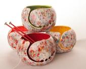 Fun-Fetti Ceramic Yarn Bowl Choose your inside color - handmade in my Charleston, SC studio