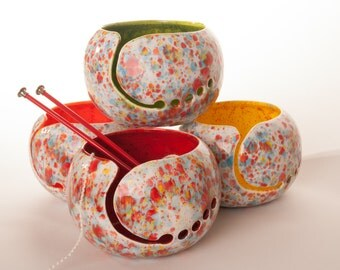 Knitting Ceramic Yarn Bowl Choose your inside color - Yarn Bowl handmade in my Charleston, SC studio