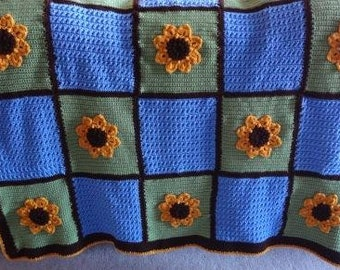 Sunflower Garden Afghan Ready to be Shipped