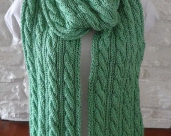 Soft Cable Knit Scarf Ready to Be Shipped Sage Green