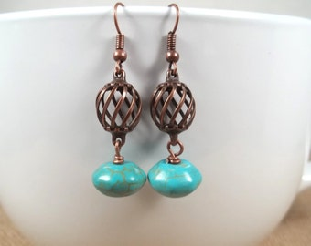 Aged Copper Howlite Turquoise Bohemian Dangle Earrings