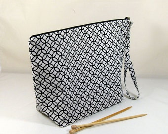 Knitting Project Bag - Large Zipper Wedge Bag in Black and White Geometric Home Decor Fabric with Black and White Polka Dot Cotton Lining