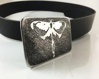 Luna Moth Belt Buckle - Etched Stainless Steel - Handmade