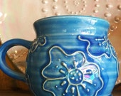 Blue Iridescent Flower Mug
