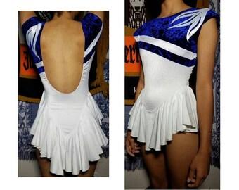 70's Ice Skating Costume White Navy Ballroom Dancing Baton Bodysuit