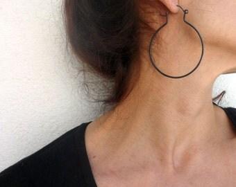 Black Hoop Earrings - Oxidized Silver Hoops - Contemporary Hoops - Modern Minimalist Black Silver Hoops Earrings - Contemporary Jewelry