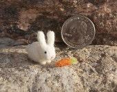 Miniature rabbit,  felted rabbit, super tiny, cake topper, rabbit, white rabbit